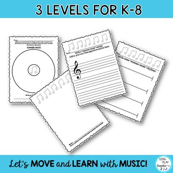 Back to School Music and Writing Activity for Elementary Students