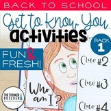 "Back to School Activities ""Get To Know You"" First Week of School"