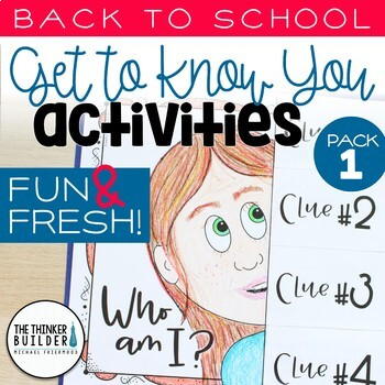 """Back to School Activities """"Get To Know You"""" First Week of School"""