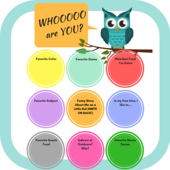 BACK TO SCHOOL -- Getting to Know You, Upper Grades (OWL)