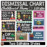 BACK TO SCHOOL HOW DO WE GO HOME DISMISSAL EDITABLE CHART {CLASSIC CHALKBOARD}