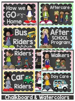 BACK TO SCHOOL HOW DO WE GO HOME DISMISSAL EDITABLE CHART {CLASSIC CHALKBOARD}