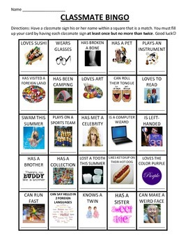 BACK TO SCHOOL ICE BREAKER-CLASSROOM BINGO