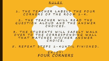 BACK TO SCHOOL ICE BREAKER / FOUR CORNERS!