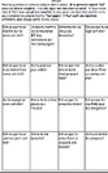 BACK TO SCHOOL ICEBREAKER SUMMER BINGO #2 Core French Immersion