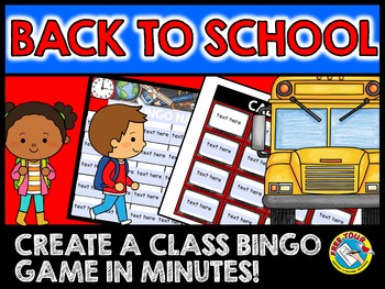 BACK TO SCHOOL EDITABLE SIGHT WORDS BINGO GAME (VOCABULARY