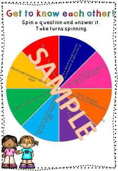 BACK TO SCHOOL! Introduction activity spinner sheet 2nd-6th grade