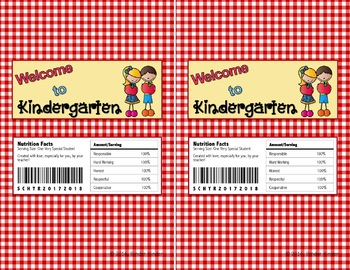 Back to School Chocolate Bar Wrappers-Kindergarten