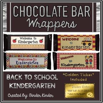 Back to School Chocolate Bar Wrappers-Kindergarten