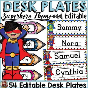 SUPERHERO CLASS DECOR: EDITABLE DESK PLATES/NAME PLATES/LABELS