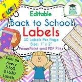 BACK TO SCHOOL Labels Editable Classroom Notebook Folder Name Tags (Avery 5160)