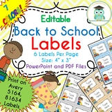 BACK TO SCHOOL Labels Editable Classroom Notebook Folder Name Tags (Avery 5164)