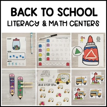 BACK TO SCHOOL Literacy & Match Centers (Preschool, PreK, Kindergarten)