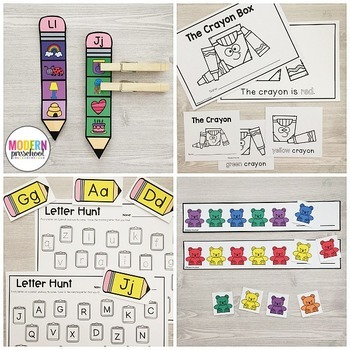 BACK TO SCHOOL Literacy & Match Centers (Preschool, PreK, Kindergarten)