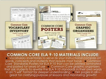 BACK TO SCHOOL BUNDLE FOR ELA GRADES 9-10: 150+ Pgs of Activities, Posters, More