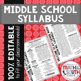 BACK TO SCHOOL MIDDLE SCHOOL SYLLABUS FULLY EDITABLE