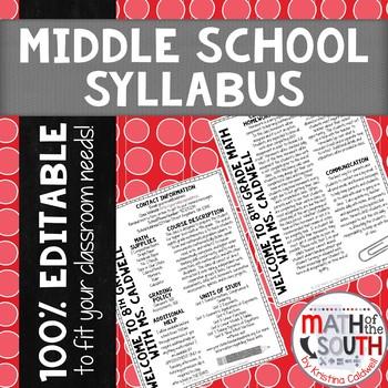 BACK TO SCHOOL MIDDLE SCHOOL SYLLABUS FULLY EDITABLE