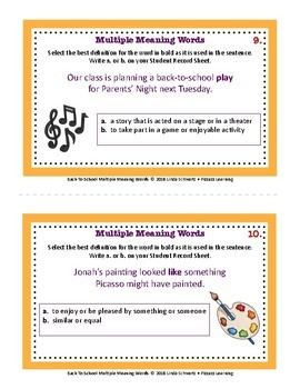 NEW! BACK-TO-SCHOOL MULTIPLE MEANING WORDS