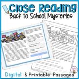 BACK TO SCHOOL CLOSE READING COMPREHENSION  MYSTERY PASSAGES