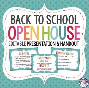 BACK TO SCHOOL MEET THE TEACHER NIGHT PRESENTATION AND HANDOUT (OPEN HOUSE)