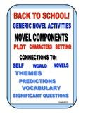 BACK TO SCHOOL NOVEL ACTIVITIES COMMON CORE SUPPLEMENT