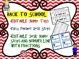 EDITABLE Name Tags, Desk Tags, Early Finishers for Back to School