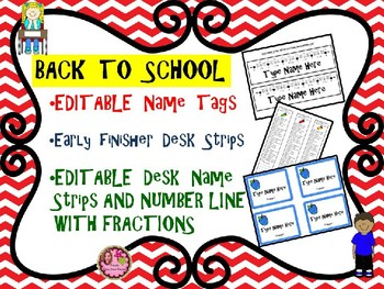 Name Tags - Back to School - Desk Tags, Early Finishers