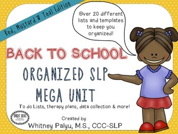BACK TO SCHOOL ORGANIZED SLP ! Mustard, Red & Teal Edition UPDATED