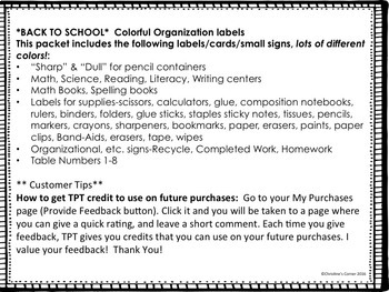 BACK TO SCHOOL Beginning of the Year Classroom Organization Labels cards