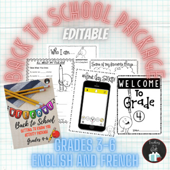 BACK TO SCHOOL PACKAGE GRADES 4-6 EDITABLE POWERPOINT
