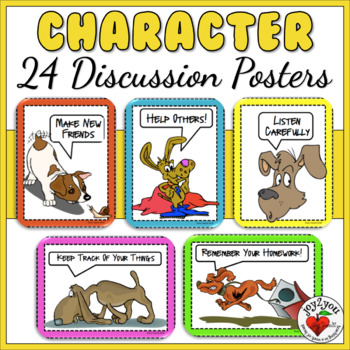 Character & Manners Mini-Posters - mindfulness - rules and study habits
