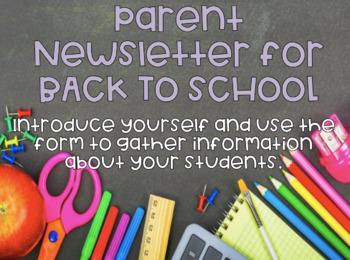 BACK TO SCHOOL Parent Newsletter for French Teacher (EDITABLE)