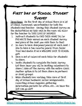 BACK TO SCHOOL- Primary Student Survey (1st Day)