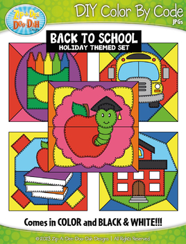 BACK TO SCHOOL Quilt Color By Code Clipart {Zip-A-Dee-Doo-Dah Designs}