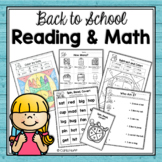 BACK TO SCHOOL  READING AND MATH  Worksheets and Games