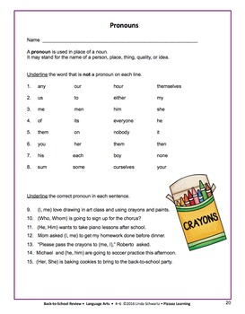 BACK-TO-SCHOOL REVIEW: LANGUAGE ARTS • GRADES 4-6