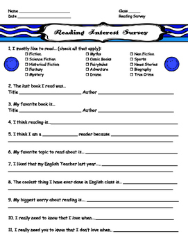 BACK TO SCHOOL Reading Interest Survey