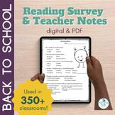BACK TO SCHOOL BUNDLE Digital and Paper Reading Interest Surveys