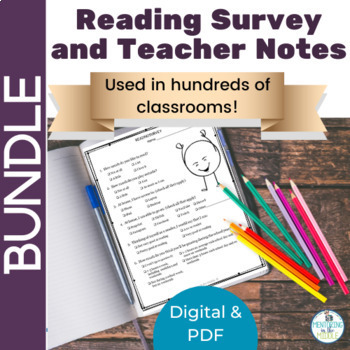 BACK TO SCHOOL BUNDLE Digital and Paper Reading Interest Surveys