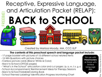 FREE: SCHOOL - Receptive, Expressive Language, and Articulation Packet (RELAP)