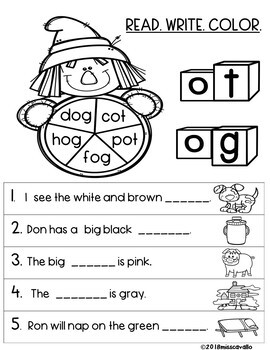 BACK TO SCHOOL: SCARECROW CVC AND COLOR WORDS
