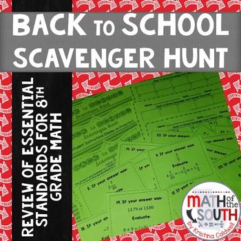 BACK TO SCHOOL SCAVENGER HUNT 8TH GRADE MATH (TASK CARDS)
