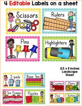BACK TO SCHOOL SCHOOL SUPPLY EDITABLE LABELS : CLASS DECOR