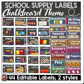 BACK TO SCHOOL SCHOOL SUPPLY EDITABLE LABELS {CLASSIC CHALKBOARD}