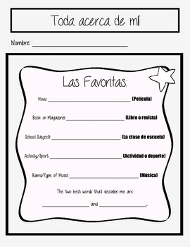 BACK TO SCHOOL SPANISH ENGLISH STUDENT SURVEY INTEREST INVENTORY, GOALS vers. 2