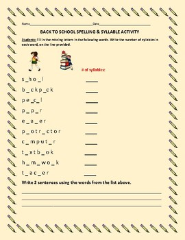 BACK TO SCHOOL SPELLING & SYLLABLE ACTIVITY