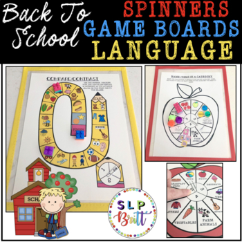 BACK TO SCHOOL SPINNERS & GAME BOARDS - LANGUAGE (SPEECH & LANGUAGE THERAPY)