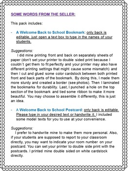 BACK-TO-SCHOOL STUDENT GIFT, POSTCARD, PARENT LETTER AND INFO SHEET