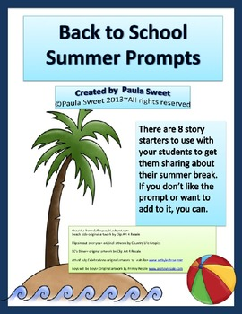 BACK TO SCHOOL SUMMER PROMPTS