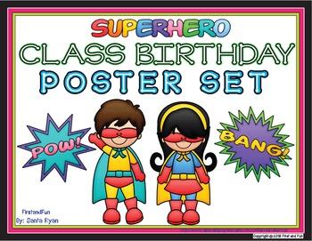 BACK TO SCHOOL SUPERHERO BIRTHDAY CHART POSTERS